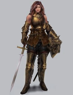 f Paladin Plate Armor Shield Sword Eye Patch female urban City undercity lg Female Character Concept, Fantasy Character Design, Character Modeling, Character Portraits, Character Design Inspiration, Character Art, Female Armor, Female Knight, Fantasy Warrior