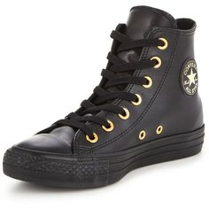 Converse Chuck Taylor All Star Craft Leather Hi-Tops ($78) ❤ liked on Polyvore featuring shoes, sneakers, black leather sneakers, black leather shoes, black trainers, black high tops and leather high top sneakers
