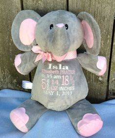 Personalized Baby Gift Monogrammed Baby Gift Elephant Baby Blanket PERSONALIZED by World Class Embroidery LOVE!