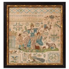 """""""Allegory of Springtime"""" important and fine silk and gold thread on linen sampler, Denmark 1734"""