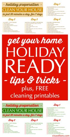 Ready to get your home holiday ready?  I've got a FREE printable to help you clean your home in just 30 minutes a day for 7 days!  Season's Cleanings!