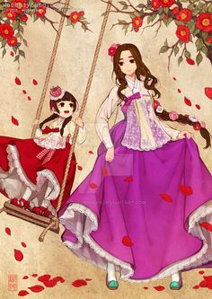 Royal Ladies in lacy hanbok dressDigital drawing, 2015 Pictures for sales are high definition. Royal Ladies in lacy hanbok dress Korean Hanbok, Korean Dress, Korean Outfits, Japanese Outfits, Korean Anime, Korean Art, Asian Art, Korean Traditional, Traditional Dresses