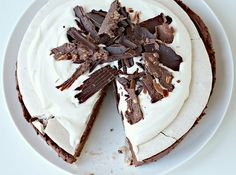 Chocolate Mousse Meringue Cake with White Chocolate Cream
