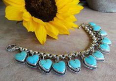 """Joan Slifka Sterling Silver & 12  Turquoise Stone Small Heart Charm Bracelet 7"""" #JoanSlifka"""