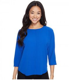 Vince Camuto Specialty Size - Petite 3/4 Sleeve Front Seam Blouse (Core Blue) Women's Blouse