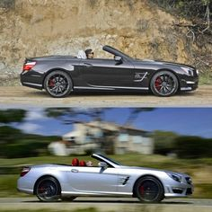 Do you prefer the lively SL63 and its hand-built biturbo V-8, or the sheer force of the SL65's hand-built biturbo V-12? #mercedes #benz #instacar #luxury #germancars #carphotography #carsofinstagram #SL63 #SL65 #AMG
