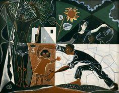 John Craxton (English, 1922-2009), Black Greek Landscape with Figures, 1949-50. Oil on canvas, 119.5 x 154 cm.