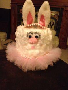 Princess ballerina bunny Easter Basket made from a gallon milk jug and cotton balls. Easter 2014