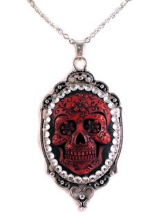 """Women's """"Sugar Skull"""" Cameo Necklace by Diamonds And Coal (Red)"""