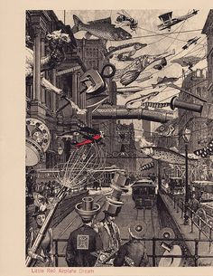 Collage by Steve Frenkel / Mail Art: Little Red Airplane Dream, 1986 - 1990