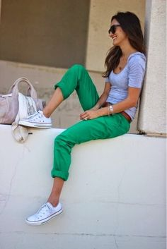 Adorable green jeans and white cute ladies sneaker inspiration ever