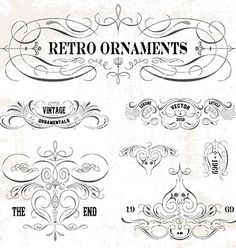 Set of vintage design elements vector calligraphic swirls borders - by vectormikes on VectorStock®