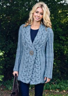 """""""Cable Trim Jacket -- looks so warm!"""", """"Cable Trim Jacket - Love this and it would be easy to make!"""", """"the online pattern store"""" Cardigan Pattern, Sweater Knitting Patterns, Knitting Designs, Knit Patterns, Crochet Jacket, Crochet Cardigan, Knit Crochet, Blue Cardigan, Long Cardigan"""