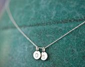 two charm tiny initial necklace - love this