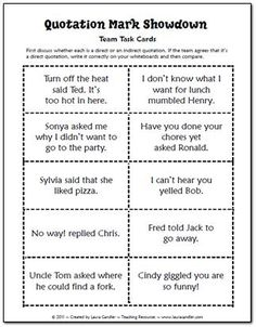 Quotation Mark Showdown Task Cards (free) Laura Cander's Teaching Resources has many free resources (in most curriculum subject areas) in addition to items she has for sale.