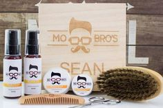 Personalised Wooden Beard Care Kit by Mo Bro's, the perfect gift for Explore more unique gifts in our curated marketplace. Mo Bros, Cedar Oil, Beard Grooming Kits, Care Box, Soften Hair, Beard Brush, How To Look Handsome, Beard Care, Sweet Almond Oil