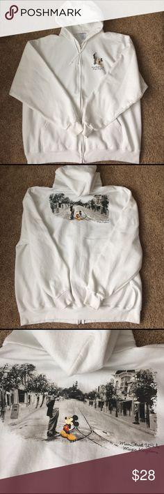 Main Street Disney Hoodie White, XXL, Main Street hooded sweatshirt. Zipper with drawstring hood and two front pockets. Great condition, no stains or rips Disney Shirts Sweatshirts & Hoodies