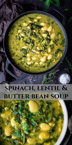 Spinach, lentil and butter bean soup - this easy vegan soup is healthy, hearty and nutritious. It is high in plant-based protein and makes a great filling lunch or light dinner. #vegansoup #veganmeal #healthy #plantbased Vegan Dinner Recipes, Vegan Dinners, Veggie Recipes, Whole Food Recipes, Vegetarian Recipes, Cooking Recipes, Healthy Recipes, Vegan Lentil Recipes, Easy Healthy Soup Recipes