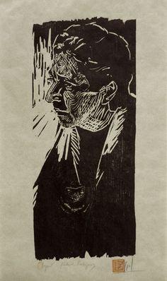Woodcut portrait of Richard Rodriguez(II) by German born printmaker Dirk Hagner