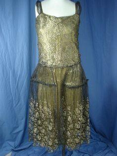 JG-vintage Art Deco Gold Metallic Lamé Lace+ silk Drop Waist 20s Flapper Dress