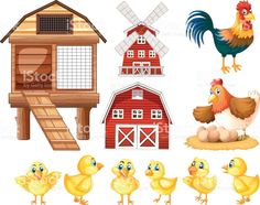 Chickens and cicken coops royalty-free stock vector art Chicken Illustration, Flat Illustration, Abc Coloring Pages, Inkscape Tutorials, Animal Art Projects, Coops, Free Vector Art, Pictures To Draw, Cartoon Styles