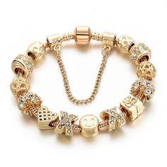Cheap bracelets for, Buy Quality heart charm bracelet directly from China charm bracelet Suppliers: 2016 New Arrival Heart Charm Bracelets For Women Gold Chain Bead Bracelets & Bangles Original Pulsera Charm Bracelets For Girls, Bracelets For Men, Bangle Bracelets, Unique Bracelets, Diamond Bracelets, Bracelet Watch, Gold Plated Bracelets, Gold Bangles, Fashion Jewelry