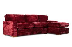 Delcor red velvet corner sofa. Available in a wide range of colours and sizes. Get a made-to-measure corner sofa that fits in your living room perfectly. Luxury furniture from Delcor.