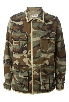 Saint Laurent Green Brown Camouflage Gold Trimmed Shirt Men's Jacket │Represented by J.Bieber,K.Hart,S.Eto, David&Brooklyn Beckham