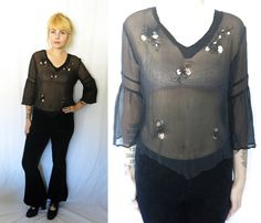 Vintage Romantic Sheer Black Silk Bouse with by SundayGirlFinds