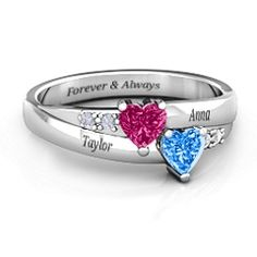 Personalize this stunning promise ring with the birthstones of your loved ones and add a special engraving, just for her. Available in silver, white gold, yellow gold and rose gold. Free shipping, free returns and free resizing on jewlr.com. It's the perfect gift!
