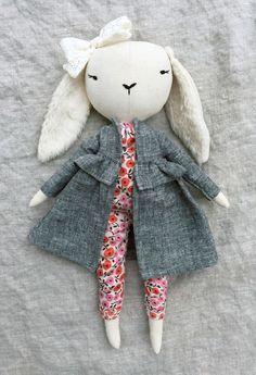 'Lapine Cerise' Handmade Linen Bunny by lespetitesmainss on Etsy