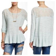 Free people Kristobel sweater Beautiful lightweight sweater. Slouchy fit so could work for a range of sizes depending on look. Mint green in color. Brand new with tags!! Free People Tops