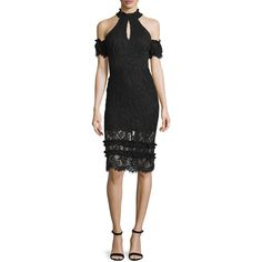 Alexis Dax Lace Cold-Shoulder Sheath Dress (39,020 INR) ❤ liked on Polyvore featuring dresses, black, lace cocktail dress, short lace dress, short cocktail dresses, short dresses and sheath dresses