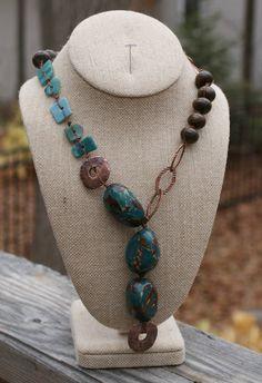 Teal Tagua Nut Necklace  Greek Mykonos  Beach Glass  by YaYJewelry, $80.00