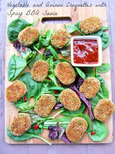 Vegetable and Quinoa Croquettes with Spicy BBQSauce