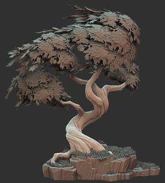 Stylized Tree, Ben Lewis on ArtStation at… Environment Concept Art, Environment Design, Zbrush, 3d Tree, Tree Artwork, Modelos 3d, Tree Sculpture, Clay Sculptures, Cg Art