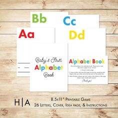 "Alphabet Book Game DIY Baby Shower Activity Game 8.5x11"" Baby's First Alphabet Book, book baby shower activity, book themed baby shower by HewittAvenue on Etsy"