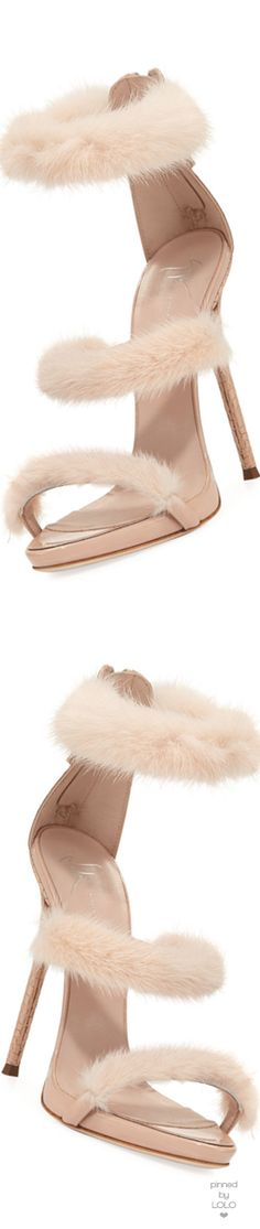 Giuseppe Zanotti Strappy Mink Fur 110mm Sandal