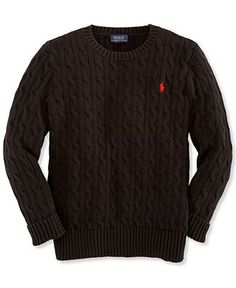 Ralph Lauren Boys' Solid Cable-Knit Sweater - in BLACK
