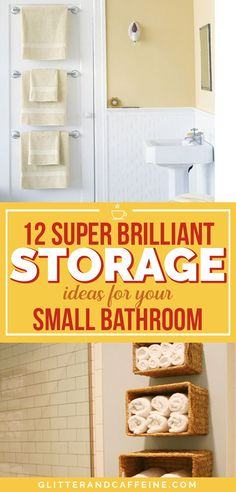 These 12 genius storage ideas will help you save space and make the most of your small bathroom. These 12 bathroom storage ideas are insanely clever. Save space in your small room with these tips and tricks without breaking the bank Bathroom Storage Solutions, Small Bathroom Storage, Small Storage, Bathroom Styling, Bedroom Storage, Bathroom Organization, Space Saving Bathroom, Storage Boxes, Storage Baskets