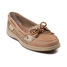 Shop for Womens Sperry Top-Sider Angelfish Boat Shoe in LinenGold at Journeys Shoes. Shop today for the hottest brands in mens shoes and womens shoes at Journeys.com.Classic skimmer from Sperry featuring a leather upper with glittery linen side accent, top stitching on toe, and leather laces. Available only online at Journeys.com and SHIbyJourneys.com!