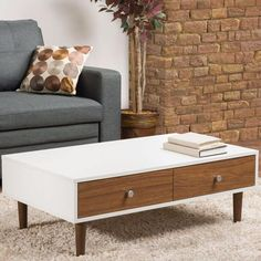 Modern Mid-Century Style White Wood Coffee Table with Drawers