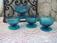 Ice Blue Crackled Looking Dessert Bowls on by Daysgonebytreasures