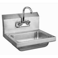 """Stainless Steel Wall-Mount Hand Sink 15"""" x 17"""" with Faucet & Drain"""