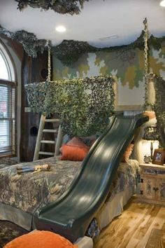 The slide is a bit much but I like the idea of a top bunk deer stand.