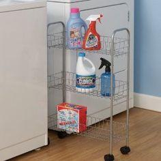 #10: Household Essentials Slim Line 3-Tier Metal Storage Cart, Satin Silver
