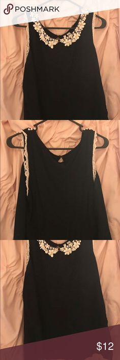 Lauren Conrad tank Black tank with crochet Peter Pan neckline and trim around arms LC Lauren Conrad Tops Tank Tops