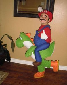 This costume will definitely keep your guests entertained! / Mario Bros. kids costume.... This is seriously what Ryder wanted... To ride Yoshi!!