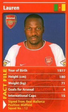 2003 Top Trumps Arsenal #NNO18 Lauren Front