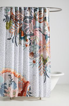 Bold blooms with paisley inspiration define this beautiful boho shower curtain cut from pure slub cotton. Style Name:Anthropologie Home Inka Shower Curtain. Style Number: Available in stores. Paisley Shower Curtain, Cute Shower Curtains, Colorful Shower Curtain, Shower Curtain Sizes, Shower Curtain White, Flower Shower Curtain, Anthropologie Home, Master Bathroom Shower, Interiors